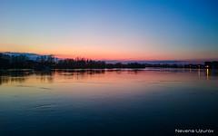 Nevena Uzurov - Evening by the river (Nevena Uzurov) Tags: sunset sky river march spring dusk serbia bluehour sava flatland bluemonday richcolors highwaterlevel sremskamitrovica