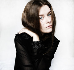 *** (lunarlaro) Tags: portrait woman black hair hand autoportrait skin