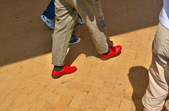 Bright Red Shoes (simonannable) Tags: red summer holiday abstract public wales walking shoes bright pentax barry unposed brightred barryisland standingout unposedinpublic boofys