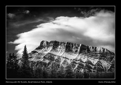 Morning with Mt. Rundle, Banff National Park, Alberta (kgogrady) Tags: morning trees blackandwhite bw mountain snow canada clouds landscape rockies blackwhite spring nikon rocky noone ab nopeople alberta infrared banff rockymountains nikkor mountrundle rundle dx banffnationalpark mtrundle canadianrockies 2016 westerncanada canadianmountains d80 canadiannationalparks canadianlandscapes cans2s albertalandscapes nikonafs18200mmgvr canadianrockieslanscape