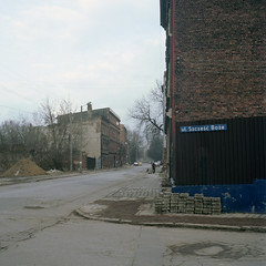 """God Bless Street"". Bytom, Poland. March 2016. (wojszyca) Tags: street city urban 120 6x6 tlr mediumformat fuji decay mat 124g pro epson derelict yashica gossen 400h 4990 bytom lunaprosbc"