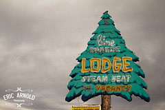 Blue Spruce Lodge (Eric Arnold Photography) Tags: road blue signs newmexico tree sign clouds hotel route66 neon cloudy shaped overcast motel roadtrip 66 route neonsign gallup spruce rte motherroad bluespruce lidge