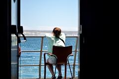 Be yourself (Daniel.Lgnes) Tags: ocean blue sea woman patagonia mer tourism southamerica water girl lady mar tour femme think sightseeing momento wait moment turismo fille pensar sudamerica puertomadryn ocanoatlntico southatlanticocean