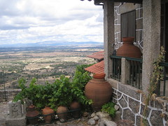 Monsanto (6) (VERUSHKA4) Tags: roof red summer sky panorama cloud house mountain detail green portugal window leaves canon bush iron europe day village view metallic album object july pots clay shutters jug fields portuguese vue height lanscape verdure monsanto