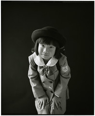 HANA (Tamakorox) Tags: family shadow portrait art love film girl japan japanese lights uniform asia fuji kodak daughter 日本 graduate tmax400 b&w pleasure 光 娘 愛 影 analoguecamera 日本人 喜び mamiyarb67prosd