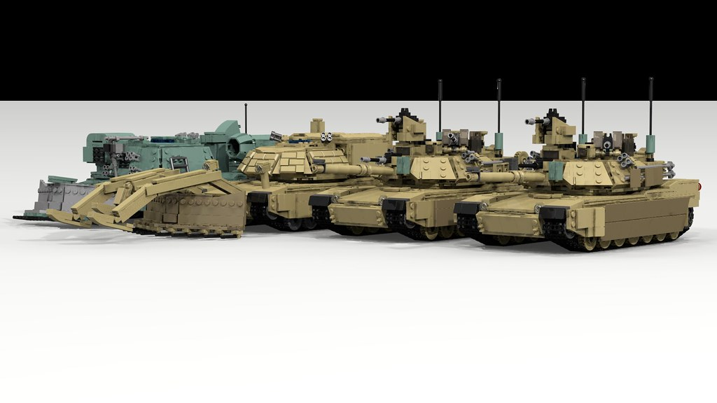 9297b33b2321 M1 Abrams Group Shot (TheRookieBuilder) Tags  mbt combatengineervehicle military  m1a2 render ldd2povray legodigitaldesigner
