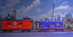 Delaware & Hudson and Baltimore & Ohio Cabeese (1 of 3) (gg1electrice60) Tags: blue red tracks pa railcar dh bo erie july4th powerpole jimthorpe lackawanna julyfourth railroadtrack baywindow baltimoreandohio route209 delawareandhudson carboncounty countyseat coupla jimthorpepa us209 bluemountainreadingrailroad baywindowcaboose readingnorthern independencedaytrip railfanexcursion usroute209 lackawannacaboose steelcaboose baltimoreohiocaboose thebridgeline tonewenglandandcanada erielackawannacaboose elcaboose delawarehudsoncaboose unkowncaboose boroughofjimthorpe bluemountainreadingrr railfanexcursiononbluemountainreading bridgelinetonewenglandcanada dhnumber35850 dandhudsonno35850 delawarehudson35850 bocaboosec2414 baltimoreohionumberc2414 baltimoreandohionoc2414 erielackawannac191 erielackawannanoc191 built363 builtmarch1963