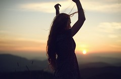 Just Breathe (NoelleBuske) Tags: sunset sky sun sunlight selfportrait mountains color girl silhouette self pose hair freedom nikon soft longhair free tranquility calm tones tranquil girlinnature noellebuske noellebuskephotography