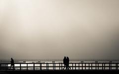 Afternoon fog, Ribersborg (nickstephenson) Tags: life travel bridge sea blackandwhite beach misty fog landscape freedom spring moody cityscape sweden weekend walk live beachlife chilly malm atmospheric dayout vren ribersborg vstrahamnen kallbadhuset lifelongvacation
