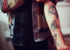 (e.m.alder) Tags: man color male film wool birds tattoo analog ink 35mm watercolor model nikon warm arm snapshot grain slide indoor slidefilm denim fujifilm 135 nikkor fujichrome nikonf sleeve e6 cardigan sensia filmgrain expiredfilm sensia400 fujicolor ftn photomic nikkors50mmf14 50mmf14s