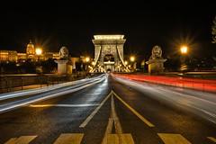 The Chain Bridge, Budapest, Hungary (ott.geoffrey) Tags: street bridge light blur hungary budapest statues lions streaks chainbridge