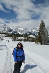 Lisa snowshoeing 1 (Aggiewelshes) Tags: travel winter snow lisa april snowshoeing wyoming jacksonhole grandtetonnationalpark 2016 gtnp taggartlaketrail