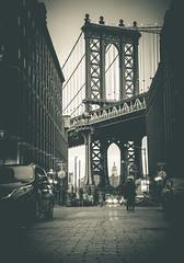 Bridge To Manhattan (Pixelglo Photography) Tags: street nyc newyorkcity travel bridge bw usa newyork cars monochrome architecture brooklyn vintage blackwhite manhattan manhattanbridge empirestatebuilding empirestate