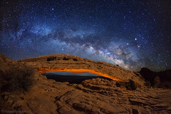 "Milky Way over Mesa Arch (IronRodArt - Royce Bair (""Star Shooter"")) Tags: lightpainting stars nightscape galaxy canyonlandsnationalpark nightsky universe nightscapes milkyway mesaarch"