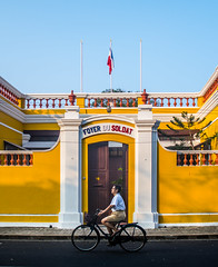 French Colony Pondicherry India (EnthuCutlet) Tags: street city architecture french cycling evening flag colony pondicherry