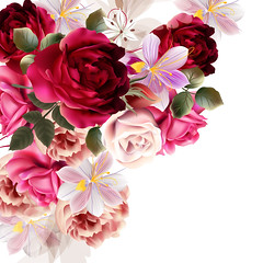 Vector cute flower bouquet for design (noor.khan.alam) Tags: pink wedding decorations wallpaper art floral beauty fashion rose illustration vintage word design spring colorful pretty pattern artistic anniversary decorative background space curves seasonal creative style retro nostalgia invitation card ornate brochure vector element hyacinth flourish russianfederation