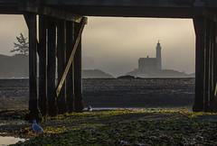 Fisgard Lighthouse (Paul Rioux) Tags: morning bridge seascape silhouette fog bc outdoor britishcolumbia victoria vancouverisland pilings seashore colwood westshore esquimaltlagoon fisgardlighthouse prioux