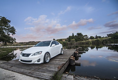 _DSC3199 (CheezyCheeto) Tags: white lake cars car wheel docks sedan boat is dock pond parking low wheels drop structure turbo cal launch pomona rim rims genesis hyundai poly coupe lowered dropped puddingstone imports lexus cpp launching is350 20t is250 purist purists importscpp