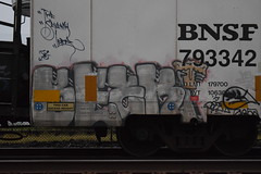 BEEK (TheGraffitiHunters) Tags: street pink white black art car yellow train graffiti colorful paint beek box gray tracks spray boxcar refrigerator freight reefer benched benching