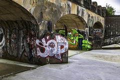 Pitsford Graffiti (Joe Panter) Tags: uk bridge urban art beautiful beauty architecture canon photography graffiti northampton artistic britain expression painted northamptonshire arches historic vandalism british spraypaint names tagging hdr highdynamicrange vandals pitsford canon7dmkii joepanter