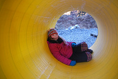 I rret -|- Inside tube (erlingsi) Tags: portrait girl yellow colours outdoor tube gelb inside jente gul volda portrett farger rr voila annalinnea ryr