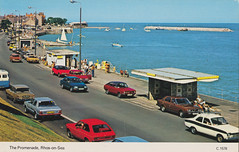 The Promenade, Rhos-on-Sea old postcard 1980s C.1578 (Spottedlaurel) Tags: ford cortina violet 1980s datsun a10 rhosonsea oldpostcard 140j vcj25v jpy500w