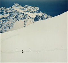 Winter landscape (Katarina 2353) Tags: winter dog mountain snow alps film landscape switzerland nikon swiss verbier katarinastefanovic katarina2353