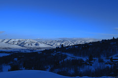 Eden, Utah. (stetsenjames) Tags: city longexposure blue trees sky mountain snow mountains tree modern night clouds skyscape landscape utah amazing nikon long angle snowy north wide clear covered valley mow eden roads northern ogden snowscape 18mm nikond3100