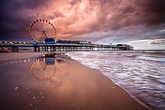 Pier, Blackpool (davidedmond57) Tags: sea cloud storm west reflection beach wheel coast pier sand north central blackpool