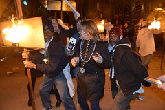 Posing with the Flambeaux Dudes (BKHagar *Kim*) Tags: street night fire flames neworleans parade napoleon mardigras bearers flambeaux krewedetat carriers prytania detat bkhagar