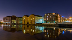 Wakefield Riverside (AngelCrutch) Tags: uk longexposure blue england water architecture buildings reflections river lights riverside britain yorkshire wakefield westyorkshire rivercalder wakefieldatnight