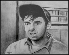 Jim Nabors Gomer Pyle - Black & White Pencil Drawing by STEVEN CHATEAUNEUF 2016 (snc145) Tags: detail celebrity art face pencil fun tv artist drawing expression cap singer comedian actor visualart mayberry pencildrawing shading 2016 jimnabors gomerpyle theandygriffithshow thisphotorocks gomerpyleusmc flickrunitedaward stevenchateauneuf