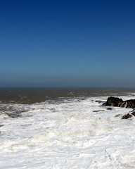 essaouira sky and waves (kexi) Tags: ocean africa blue sky white water vertical landscape coast march rocks waves atlantic morocco shore maroc simple atlanticocean essaouira 2015 maroko instantfave