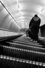 Looking Up... (Geraldine Curtis) Tags: london underground vanishingpoint couple escalator