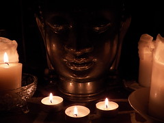 Meditation Space. (tea_hiddles) Tags: glass shrine candles buddha meditation stillness contemplation sacredspace