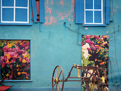 A boarded-up building in Port Magee, Ireland is made vibrant with painted flowers and false windows (albatz) Tags: ireland buildings colours bright vibrant boardedup countycork portmagee paintedflowers falsewindows