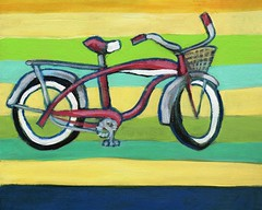Schwinn Summer (EllenJo) Tags: red art colors bike bicycle painting colorful stripes 8x10 schwinn panther bikeart february23 2016 acryliconcanvas localcharacter madeinchicago ellenjo ellenjoroberts april2016artshow
