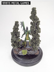 Green Dragon (whitemetalgames.com) Tags: green painting gold miniatures miniature nc dragon display reaper dragons raleigh service commission pewter plinth diorama