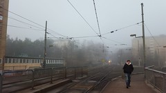 Morning [Explored 2016-02-25] (blondinrikard) Tags: mist fog dimma högsbo man walking morning tram