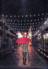 171/365 (Sariixa) Tags: street city blue red selfportrait love me broken rain azul umbrella photomanipulation photoshop myself lights luces calle lluvia rojo heart walk yo autoretrato ciudad pixar caminar 365 autorretrato paraguas corazn roto fotomontaje selfie fotomanipulacin bombillas sarixa