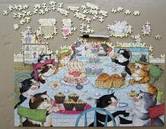 Crazy Cats Enjoy Tea & Cake (Linda Jane Smith) (Leonisha) Tags: puzzle unfinished jigsawpuzzle