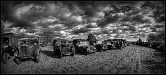 Jeeps on parade. (Steve.T.) Tags: blackandwhite monochrome clouds mono nikon jeep military wideangle parade fisheye essex lineup militaryvehicles heybridge vintagevehicle militaryhardware willysjeep hmva samyang8mmfisheyelens bumfreezer d7200 ommotimagery ilobsterit millbeachheybridge