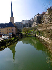 Alzette & St Jean de Grund (tame_alien) Tags: water river landscape luxembourg grund luxembourgcity