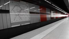 Underground (rudolphfelix) Tags: longexposure light red white black color station night train canon underground licht hit stuttgart fast zug bahnhof nightlife sbahn stg lightroom langzeitbelichtung colorkey 600d of lightpanting