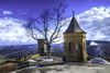 Hohenzollern Castle near to Hechingen (malioli) Tags: winter sky mountain snow tower castle monument water statue skyline architecture clouds canon germany landscape deutschland europe fort outdoor citadel stonework palace chateau stronghold fortress mystic hohenzollern