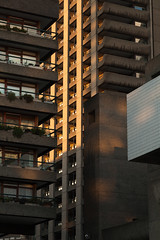 Towers | Barbican at sunset-5 (Paul Dykes) Tags: uk sunset england london architecture modernism barbican modernistarchitecture brutalism modernist brutalist cityoflondon shakespearetower barbicancentre