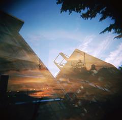 (a walk across the rooftops) Tags: 120 film oregon analog buildings portland holga construction exposure double ethereal medium format bluemoon frankenthaler tylerburns