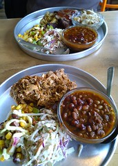 Barbecue for lunch (Ruth and Dave) Tags: lunch restaurant salad meat barbecue bakedbeans squamish coleslaw pulledpork