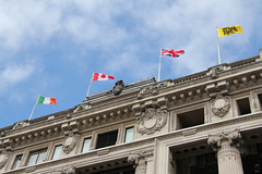 Flags atop Selfridges (Canadian Pacific) Tags: uk greatbritain ireland england canada building london architecture unitedkingdom britain flag flags selfridges 400 british oxfordstreet aimg0363