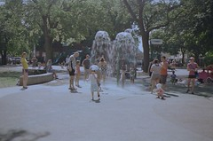 92590005 (kodak retina II c) Tags: park chicago playground illinois day sprinkler